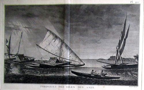 N°103 Pirogues des îles amies Gravure ancienne 23,5X37,5