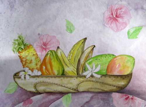 Carole Tropical fruits 36x48 Aquarelle