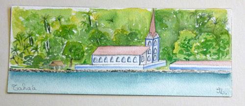 N°16 Eglise de Tahaa 19x34 Aquarelle