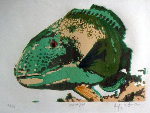 N°88 Parrot fish 2008 Estampe sur linoléum aquarellée 12/18 22X31