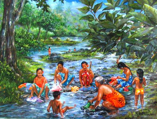 N°14 Les lavandières à la presqu'île 44x57 HST