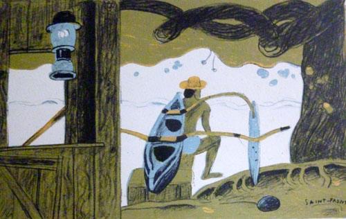 N°92 Départ à la pêche Lithographie 24,5X32,5