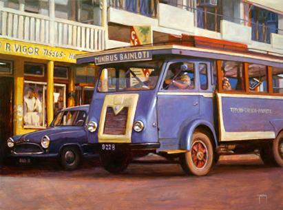 N°381 Minibus Bain Loti 2021 Huile sur toile 60x81   177 000F