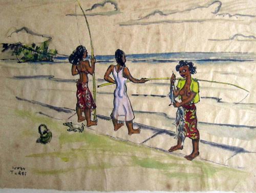 Vahine à la pêche Tech mixte 16x21 1939