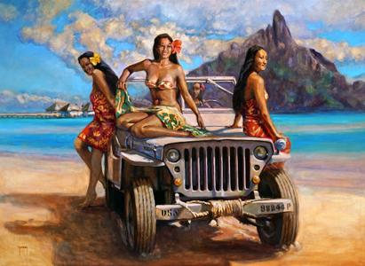 N°355 Jeep et vahine à Bora Bora 2020 Huile sur toile 73x100   216 000F