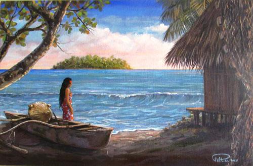 N°43 Vahine au motu à Mataiea 27x41 Huile sur carton