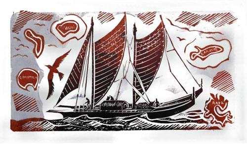N°34 Va'a Tapairoa Estampe sur linogravure aquarellée 8/30 21X39,5