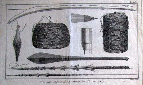 N°104 Ornemens et Armes de l'Isles des Marquises Gravure ancienne 23,5X18