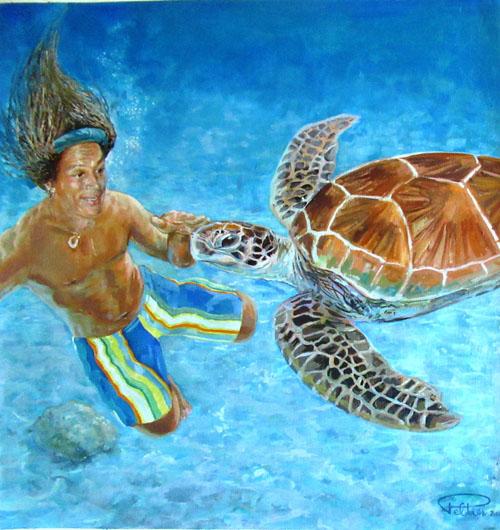 Peltier Bobby et la tortue 60x57 Huile sur toile