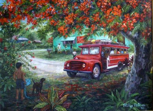 N°68 Truck rouge sous le flamboyant (enc) 2018 Giclée sur papier 48/80 53X68,5