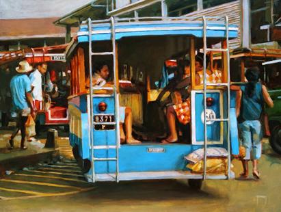 N°367 Dans les rues de Papeete 2021 Huile sur toile 46x61   101 000F