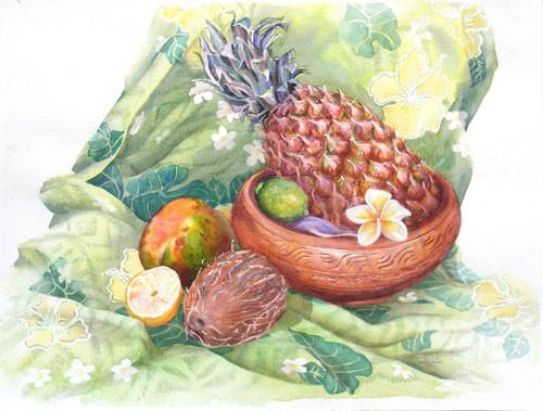 Touzé Nature morte à l'ananas 36x51 Aquarelle