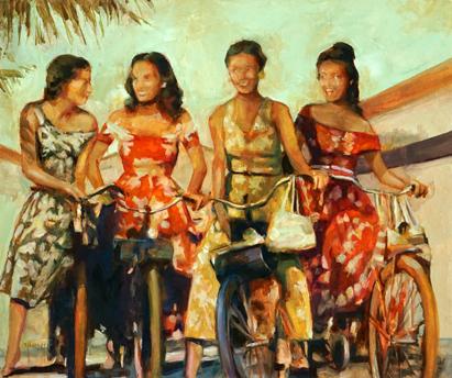 N°361 Les copines de Tahiti 2020 Huile sur toile 46x55   91 000F