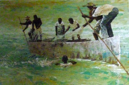 N°24 Pêche au filet 40x60 AST Vendu