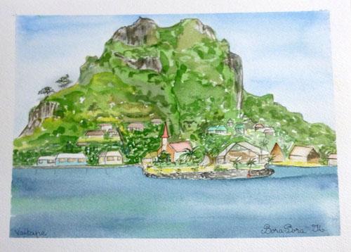 N°22 Village de Bora, Vaitape 27x35 Aquarelle