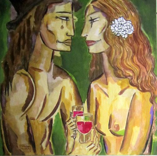 Tehina Un petit verre de vin 60x60 HST