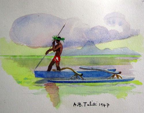Le pêcheur Aquarelle