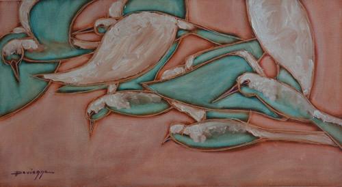 N°9 Reflets bleus aux oiseaux 49x90 HST