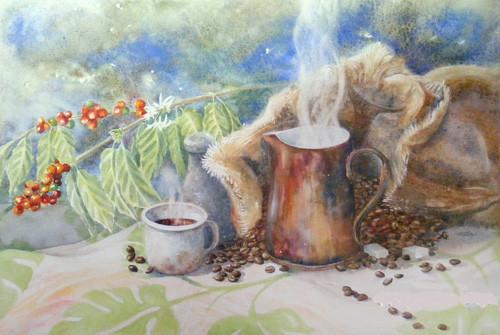Touzé Café des îles 36x51 Aquarelle