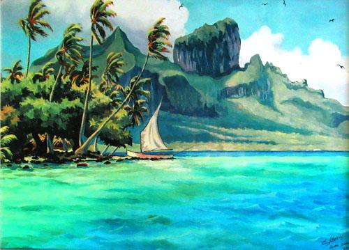 N°54 Pirogue à voile à Bora Bora 2001 Giclée sur toile 41X51