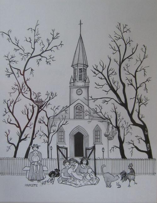 La Cathédrale Encre 65x50