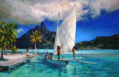 N°358 Va'a tai'e i Bora Bora 2020 Huile sur toile 65x100   210 000F