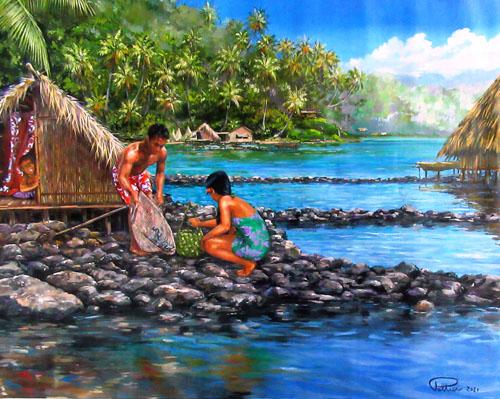 N°8 Parc à poissons à Huahine 60x75 HST