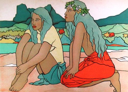 N°80 Deux vahine sur la plage Lithographie 66/130 65X50