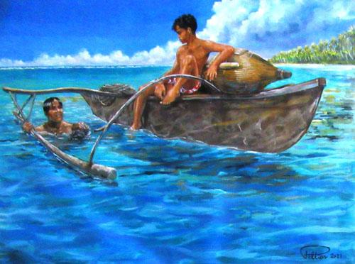 N°13 Plongeurs de nacres aux Tuamotu 44x57 HST