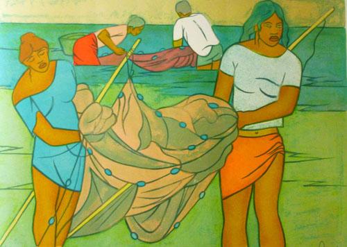 N°76 Retour de pêche Lithographie 4/150 50X65