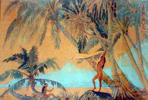 N°2 L'île Tabou à Bora Bora 1937 Estampe aquarellée 44X32