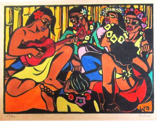 N°99 Bringue polynésienne 1946 Estampe sur bois aquarellée 18X13