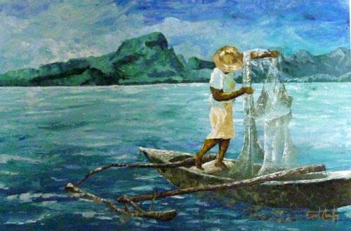 N°14 L'homme et la mer 40x60 AST Vendu