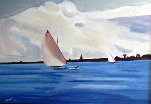 N°41 Pirogue à voile à Papeete N°908 Hpinex 37X50