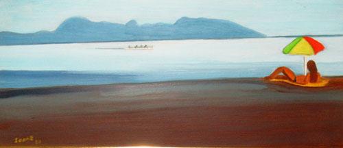 N°45 La plage à Mahina au petit matin N°920 Hpinex 21X48