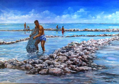 N°22 Parc à poissons aux Tuamotu 53x75 HST