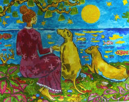 N°43 TEHINA La dame aux chiens 51x65 HST
