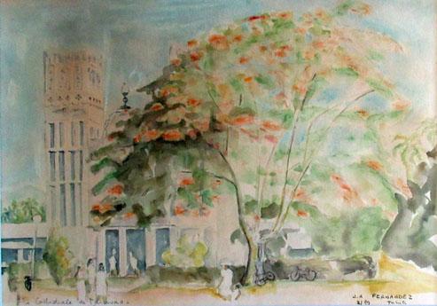 N°27 Cathedrale de Taravao C1990 Estampe aquarellée 2/89 25X34