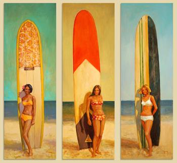 N°408-409-410 Long board (triptique) 2021 Huile sur toile 90x30(x3)   210 000F