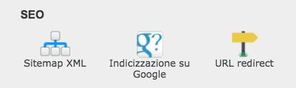 URL redirect disponibile nel pannello di gestione
