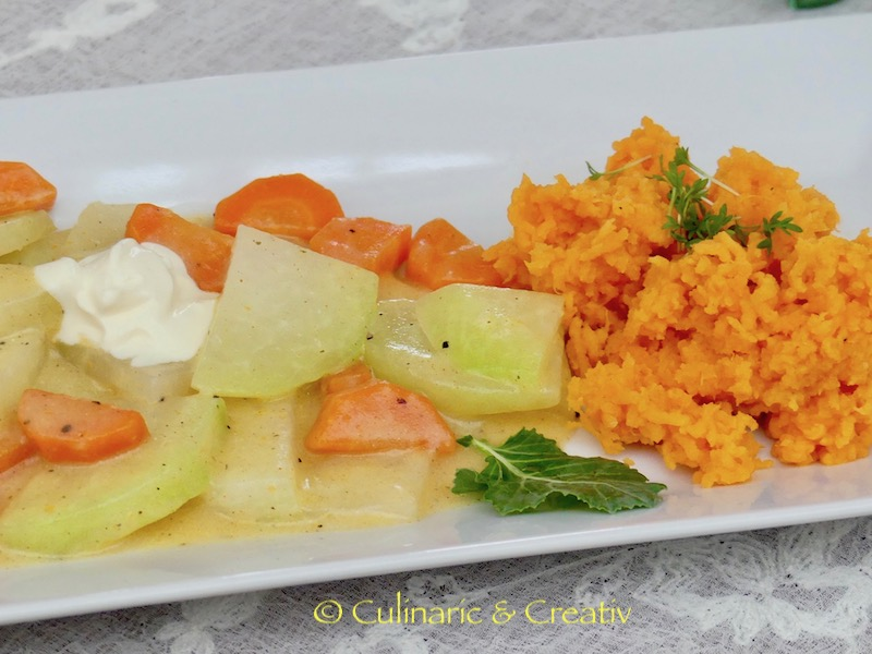 Möhren-Kohlrabi-Pfanne mit Süßkartoffel