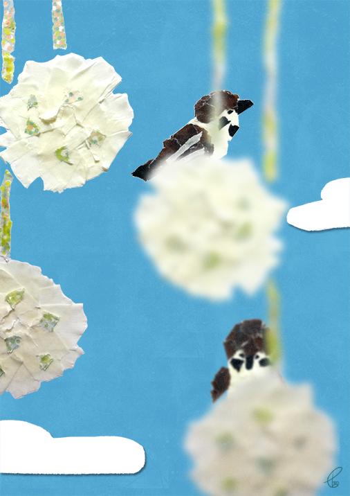 花毬に雀/マスキングテープ PhotoshopCS6 2016,2.17