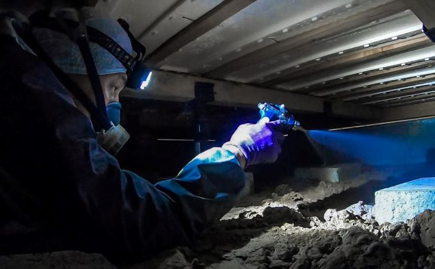 床下で薬剤を散布している作業員
