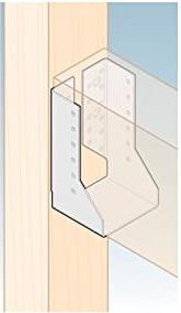 Zeichnung eines Balkenschuhs, der einen Holzbalken hält.
