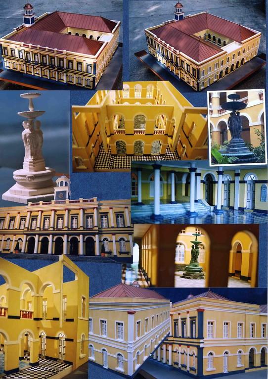 DRAC, maquette patrimoniale, histoire d'un monument; ancien Hôtel de ville de Saint-Denis de la Réunion.1/25e. Réalisation Hervé Arnoul