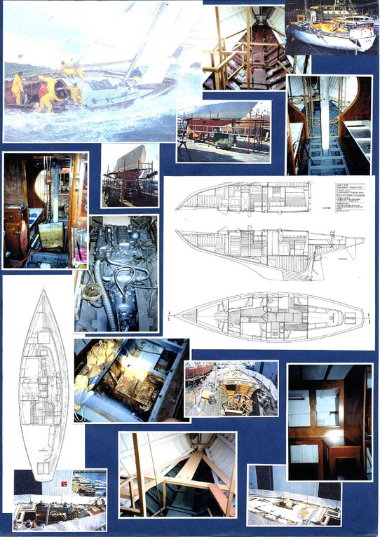 Restauration voilier de couse ORYX . Relevé de plan, conception intérieure et suivi de la réalisation Hervé Arnoul.(Etat des lieux) pour IMS.