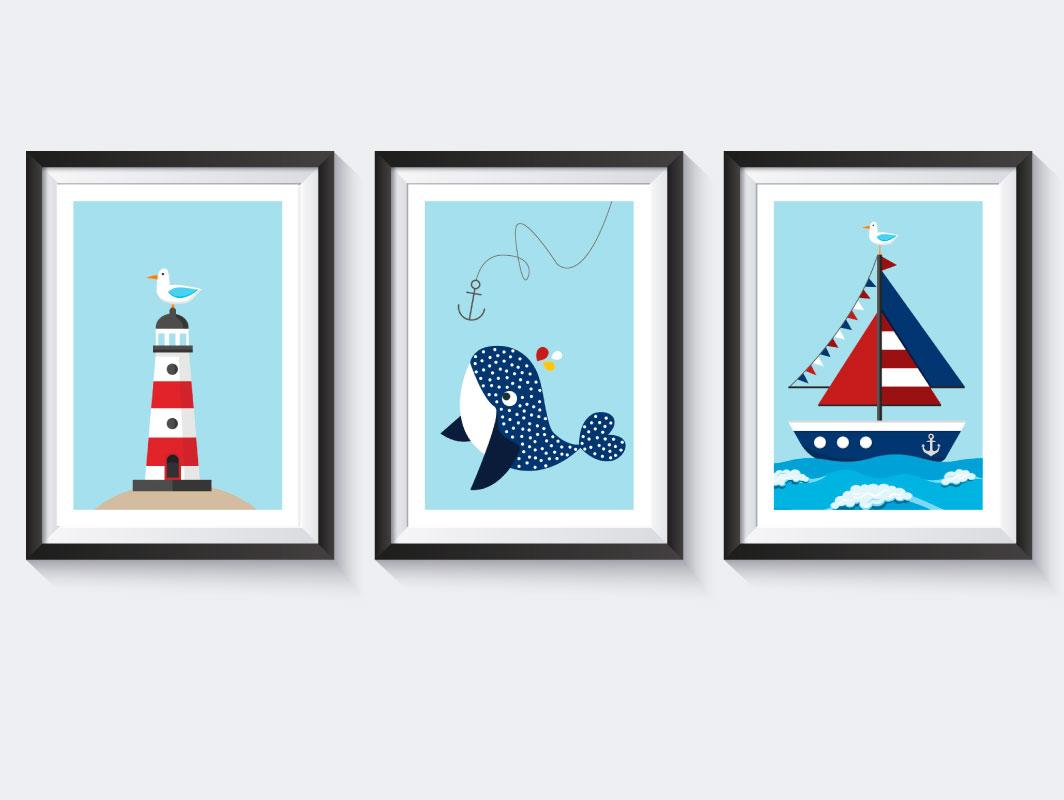 Kinderzimmer bilder set leuchtturm wal segelboot - Kinderzimmer bilder set ...