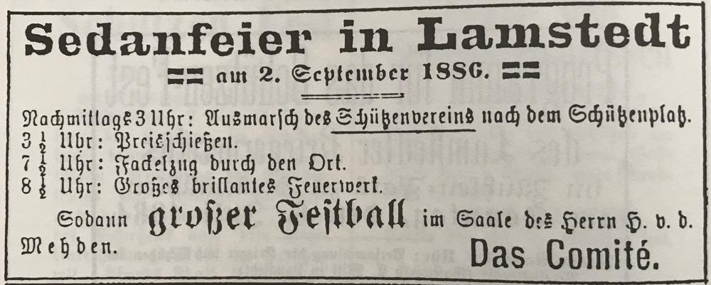Foto: Anlässlich der Sedanfeier 1886 trat der Lamstedter Schützenverein erstmals an die Öffentlichkeit. Anzeige aus dem Otterndorfer Wochenblatt vom 28.08.1886.