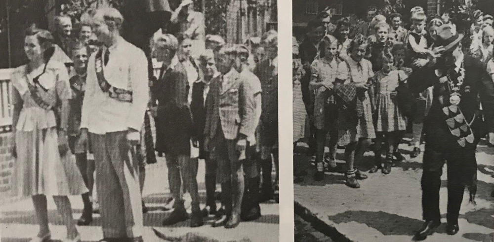 Foto: 1949: Die Kinderkönige von 1939 (inzwischen Erwachsen), Lotti Gerken und Heinrich Tiedemann, werden bei der Molkerei abgeholt.
