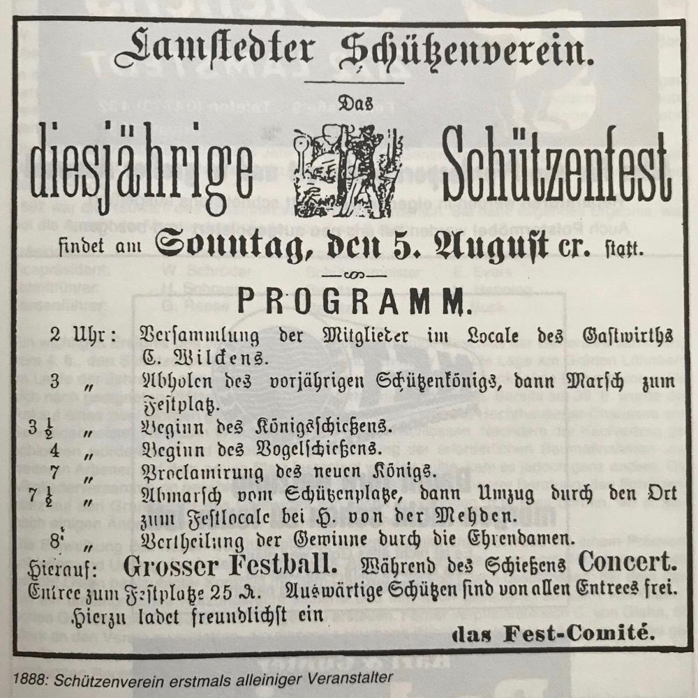 Foto: Anzeige aus dem Otterndorfer Wochenblatt. Der Schützenverein ist 1888 erstmals alleiniger Veranstalter des Schützenfestes.